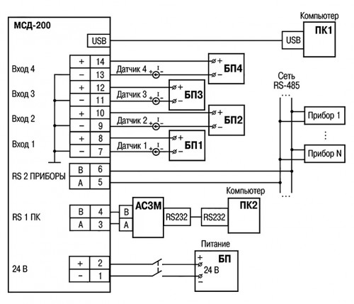 Схема подключения модуля сбора даныых ОВЕН МСД-200