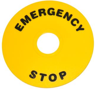 Комплект желтых табличек, круг, «Emergency Stop», 60мм