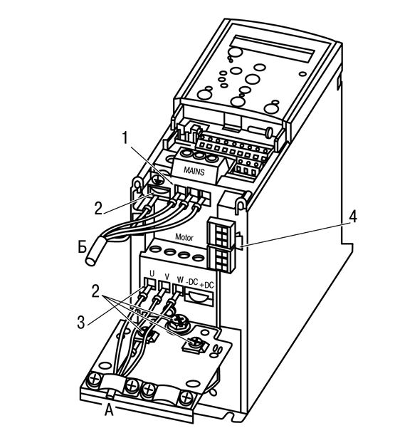 Подключение электродвигателя к ПЧВ3
