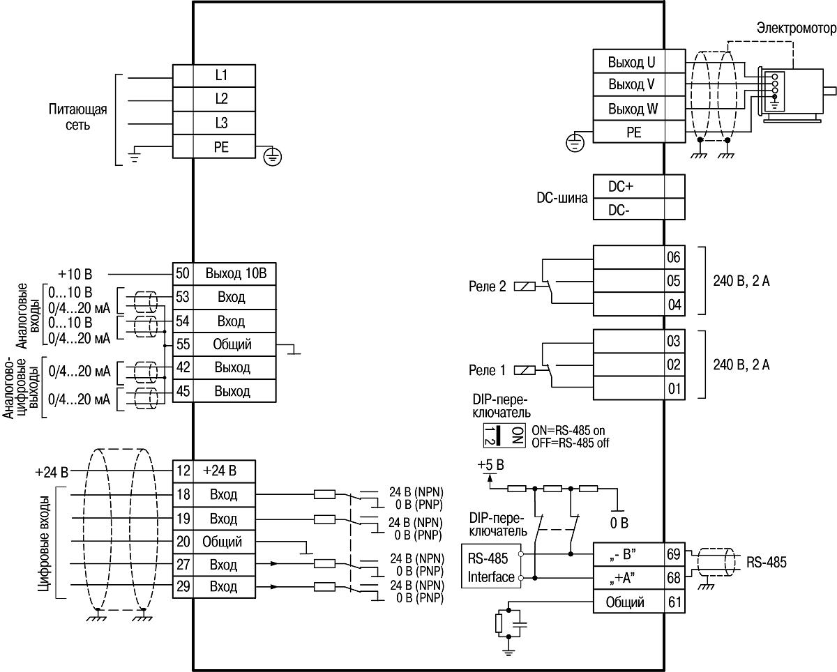 Схема электрических соединений всех клемм ОВЕН ПЧВ3