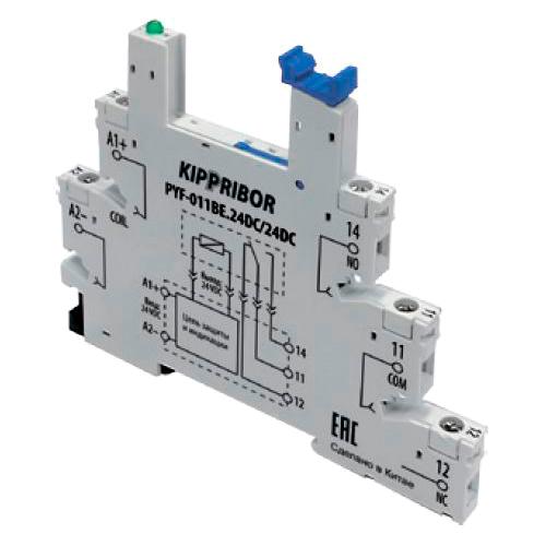 Монтажные колодки KIPPRIBOR PYF-011BE для 1-контактных реле в ультратонком корпусе серии SR