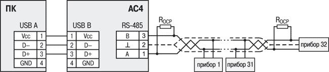 Cхема подключения АС4